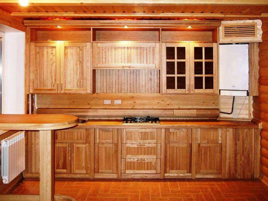 Кухня из дерева на дачу фото